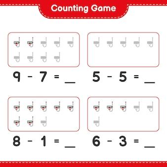 Counting game count the number of scuba diving mask and write the result educational children game