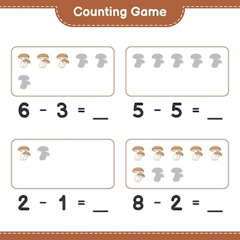 Counting game, count the number of shiitake and write the result. educational children game, printable worksheet
