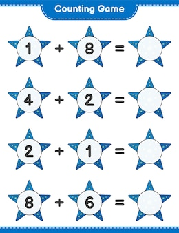Counting game count the number of starfish and write the result educational children game