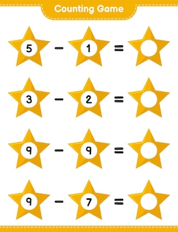 Counting game, count the number of stars and write the result. educational children game, printable worksheet