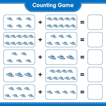 Counting game count the number of summer hat and write the result educational children game
