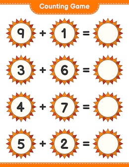 Counting game count the number of sun and write the result educational children game