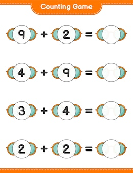 Counting game count the number of sunglasses and write the result educational children game