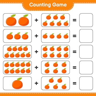 Counting game, count the number of tangerin and write the result.