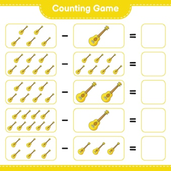 Counting game count the number of ukulele and write the result educational children game