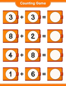 Counting game count the number of wallet and write the result educational children game