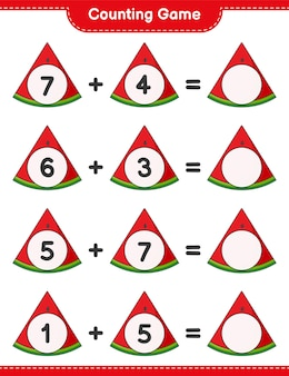 Counting game count the number of watermelon and write the result educational children game