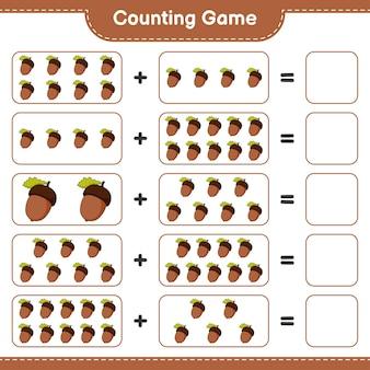 Подсчитывая игру, посчитайте количество желудь и запишите результат. развивающая детская игра, лист для печати, иллюстрация