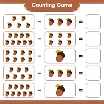 カウントゲーム、どんぐりの数を数え、結果を書き込みます。教育用子供向けゲーム、印刷可能なワークシート