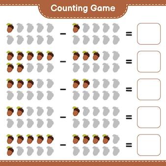 게임을 세고 도토리의 수를 세고 결과를 씁니다. 교육용 어린이 게임, 인쇄 가능한 워크 시트