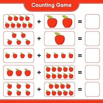 ゲームを数え、アップルの数を数え、結果を書きます。教育的な子供向けゲーム、印刷可能なワークシート、イラスト