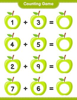 ゲームを数え、アップルの数を数え、結果を書きます。教育的な子供向けゲーム、印刷可能なワークシート