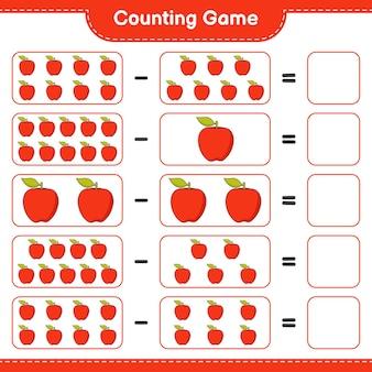 Подсчитайте игру, посчитайте количество apple и запишите результат. развивающая детская игра, лист для печати