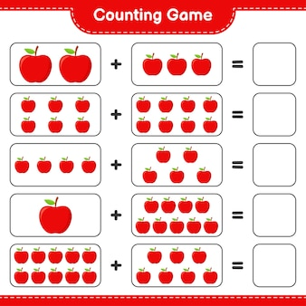 ゲームを数え、アップルの数を数え、結果を書きます。
