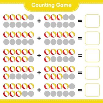 カウントゲームはビーチボールの数を数え、結果を書く教育的な子供たちのゲーム