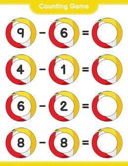カウントゲームはビーチボールの数を数え、結果を書きます教育的な子供たちのゲーム