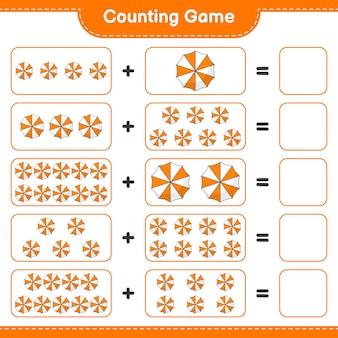 カウントゲームはビーチパラソルの数を数え、結果を書く教育的な子供たちのゲーム
