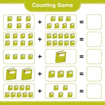 Подсчитайте игру, посчитайте количество книг и запишите результат. развивающая детская игра, лист для печати, иллюстрация