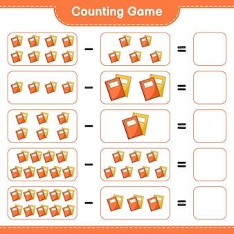 ゲームを数える、本の数を数え、結果を書きます。教育用子供向けゲーム、印刷可能なワークシート