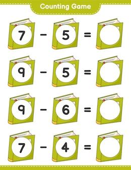 ゲームを数え、本の数を数え、結果を書きます。教育的な子供向けゲーム、印刷可能なワークシート