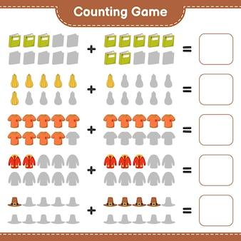 ゲームを数え、本、バターナッツスカッシュ、tシャツ、防寒着、帽子の数を数え、結果を書きます。教育的な子供向けゲーム、印刷可能なワークシート