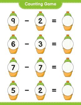 カウントゲームはサボテンの数を数え、結果を書く教育的な子供たちのゲーム