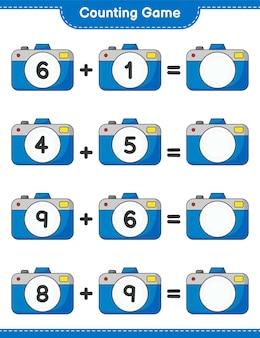 カウントゲームはカメラの数を数え、結果を書きます教育的な子供たちのゲーム