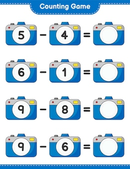 カウントゲームはカメラの数を数え、結果を書く教育的な子供たちのゲーム
