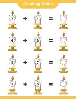 게임을 세고 촛불의 수를 세고 결과를 씁니다. 교육용 어린이 게임, 인쇄 가능한 워크 시트
