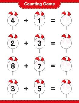 カウントゲームはキャンディーの数を数え、結果を書きます教育的な子供たちのゲーム
