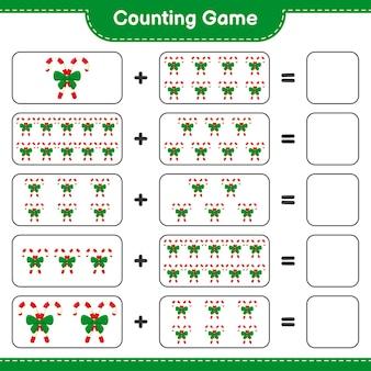 게임을 세고 리본으로 사탕 지팡이의 수를 세고 결과를 씁니다. 교육용 어린이 게임, 인쇄 가능한 워크 시트