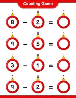 ゲームを数え、クリスマスボールの数を数え、結果を書きます。教育的な子供向けゲーム、印刷可能なワークシート
