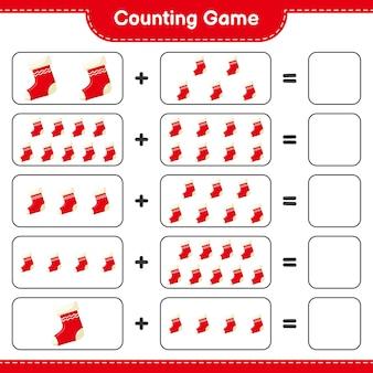 게임을 세고 크리스마스 양말의 수를 세고 결과를 씁니다. 교육용 어린이 게임, 인쇄 가능한 워크 시트