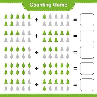 게임을 세고 크리스마스 트리의 수를 세고 결과를 씁니다. 교육용 어린이 게임, 인쇄 가능한 워크 시트