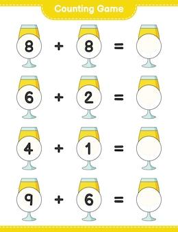 カウントゲームはカクテルの数を数え、結果を書きます教育的な子供たちのゲーム