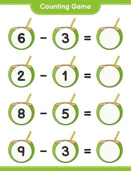カウントゲームはココナッツの数を数え、結果を書く教育的な子供たちのゲーム