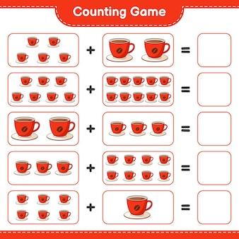 게임을 세고 커피 컵의 수를 세고 결과를 씁니다. 교육용 어린이 게임, 인쇄 가능한 워크 시트, 일러스트레이션
