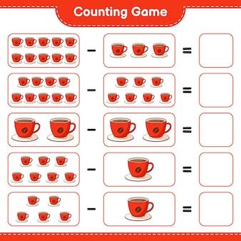 カウントゲーム、コーヒーカップの数を数え、結果を書き込みます。教育用子供向けゲーム、印刷可能なワークシート