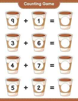 게임을 세고 커피 컵의 수를 세고 결과를 씁니다. 교육용 어린이 게임, 인쇄 가능한 워크 시트 프리미엄 벡터