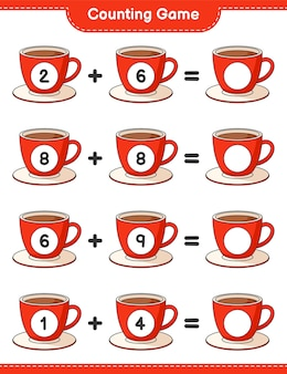 게임을 세고 커피 컵의 수를 세고 결과를 씁니다. 교육용 어린이 게임, 인쇄 가능한 워크 시트