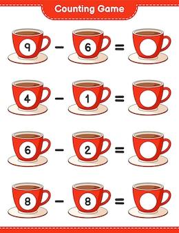 ゲームを数え、コーヒーカップの数を数え、結果を書きます。教育的な子供向けゲーム、印刷可能なワークシート