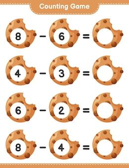 ゲームを数え、クッキーの数を数え、結果を書きます。教育的な子供向けゲーム、印刷可能なワークシート