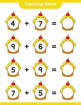 カウントゲームはカップケーキの数を数え、結果を書く教育的な子供たちのゲーム