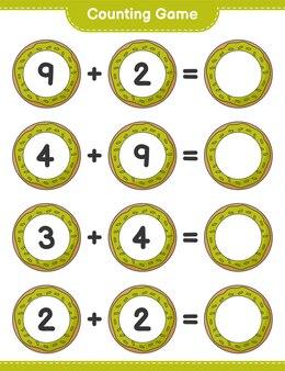 Считая игру, посчитайте количество пончиков и запишите результат. развивающая детская игра, лист для печати