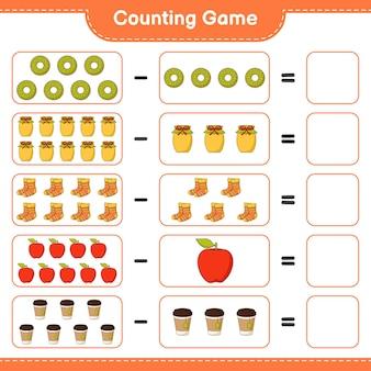 ゲームを数え、ドーナツ、ジャム、靴下、リンゴ、ティーカップの数を数え、結果を書きます。教育的な子供向けゲーム、印刷可能なワークシート