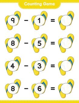 カウントゲームはフリップフロップの数を数え、結果を書きます教育的な子供たちのゲーム