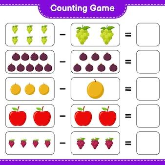 ゲームを数え、果物の数を数え、結果を書きます。教育的な子供向けゲーム、印刷可能なワークシート、イラスト