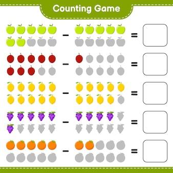 ゲームを数え、果物の数を数え、結果を書きます。教育的な子供向けゲーム、印刷可能なワークシート