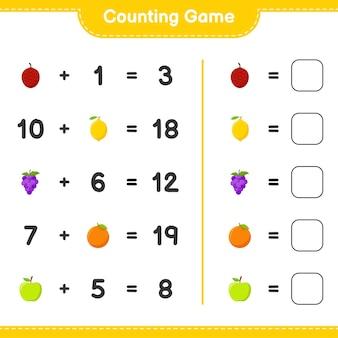 게임을 세고 과일 수를 세고 결과를 씁니다. 교육용 어린이 게임, 인쇄 가능한 워크 시트