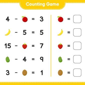 Подсчитайте игру, посчитайте количество фруктов и запишите результат. развивающая детская игра, лист для печати
